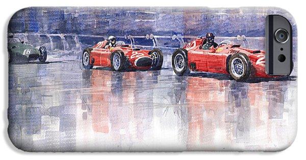 Watercolour Paintings iPhone Cases - Ferrari D50 Monaco GP 1956 iPhone Case by Yuriy  Shevchuk