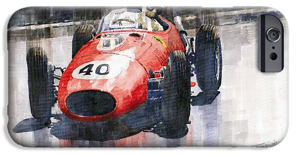 Racing iPhone Cases - Ferrari Dino 246 F1 Monaco GP 1958 Wolfgang von Trips iPhone Case by Yuriy  Shevchuk