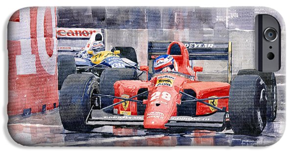 Ferrari Watercolor iPhone Cases - Ferrari F1 Jean Alesi Phoenix US GP Arizona 1991 iPhone Case by Yuriy  Shevchuk