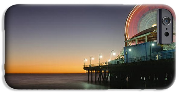 Rollercoaster Photographs iPhone Cases - Ferris Wheel And Rollercoaster At Dusk iPhone Case by Axiom Photographic