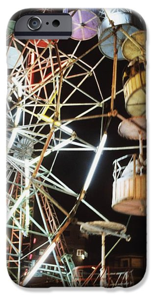 Weekend Activities iPhone Cases - Ferris Wheel At Fairground iPhone Case by Axiom Photographic