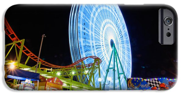 Rotate iPhone Cases - Ferris wheel at night iPhone Case by Stylianos Kleanthous