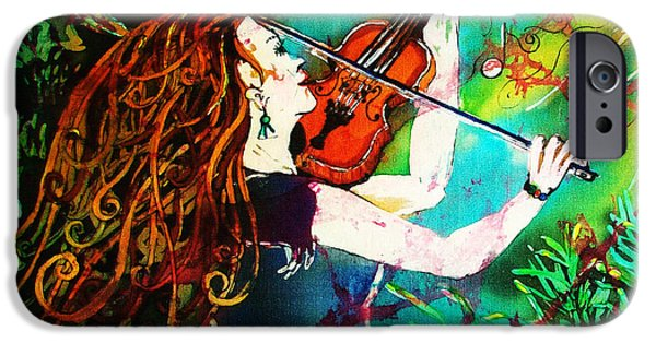 Music Tapestries - Textiles iPhone Cases - Fiddling Toward the Sun iPhone Case by Sue Duda