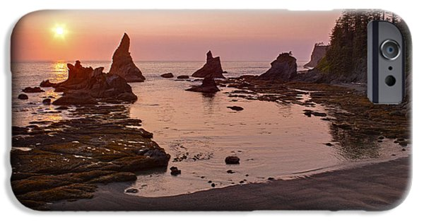 Oregon Coast iPhone Cases - Fiery Coastline iPhone Case by Mike Reid