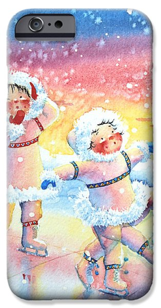 Child iPhone Cases - Figure Skater 9 iPhone Case by Hanne Lore Koehler