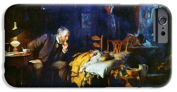 Outside iPhone Cases - Fildes The Doctor 1891 iPhone Case by Granger