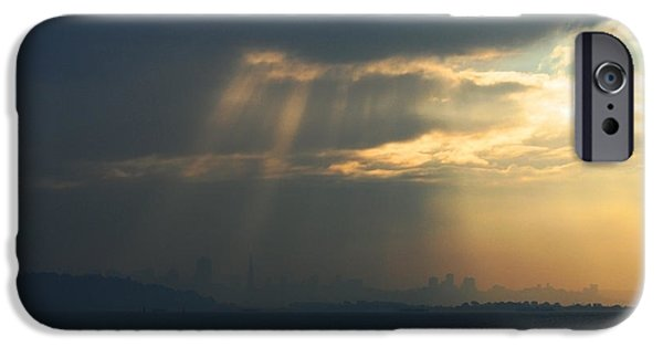 Fog Mist iPhone Cases - Filtered Light Through San Francisco Skyline iPhone Case by Wingsdomain Art and Photography