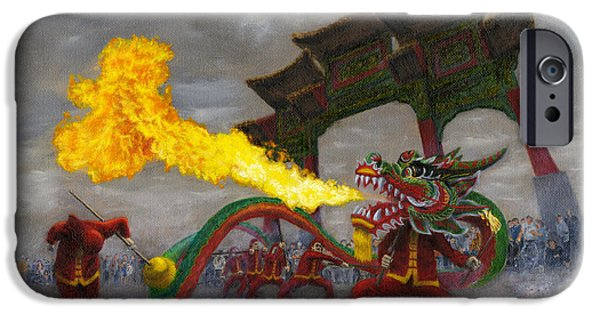 Pearls Of Wisdom iPhone Cases - Fire-Breathing Dragon Dancer iPhone Case by Jason Marsh