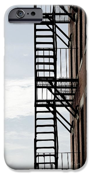 Freedom iPhone Cases - Fire escape in Boston iPhone Case by Elena Elisseeva