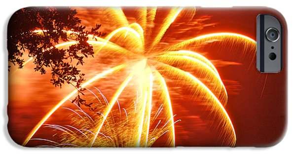 July 4th Digital Art iPhone Cases - Fire in the Trees iPhone Case by Phill  Doherty