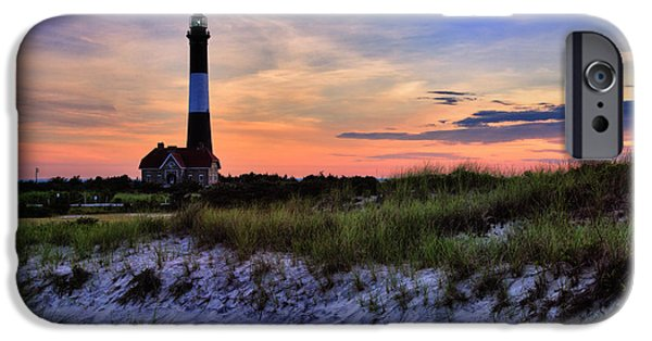 Fire Photographs iPhone Cases - Fire Island Lighthouse iPhone Case by Rick Berk