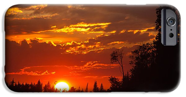 Langlois iPhone Cases - Fire Sun iPhone Case by Darren Langlois