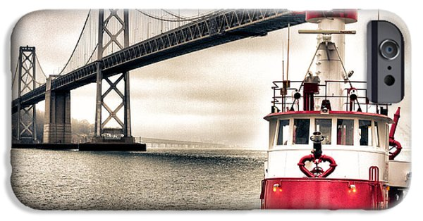 Bay Bridge iPhone Cases - Fireboat and Bay Bridge HDR iPhone Case by Jarrod Erbe