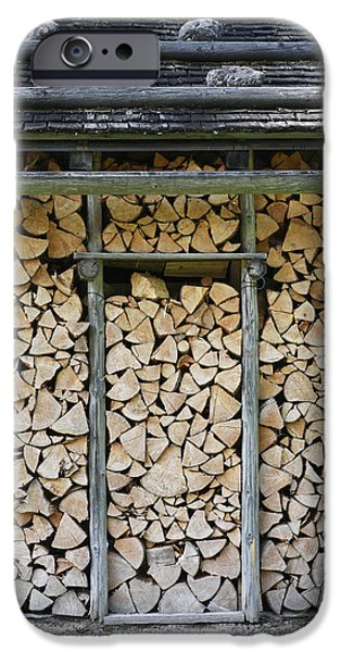 Shed iPhone Cases - Firewood stack iPhone Case by Frank Tschakert