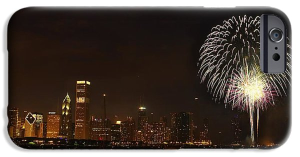 4th Of July iPhone Cases - Fireworks Against Chicago Skyline iPhone Case by Axiom Photographic