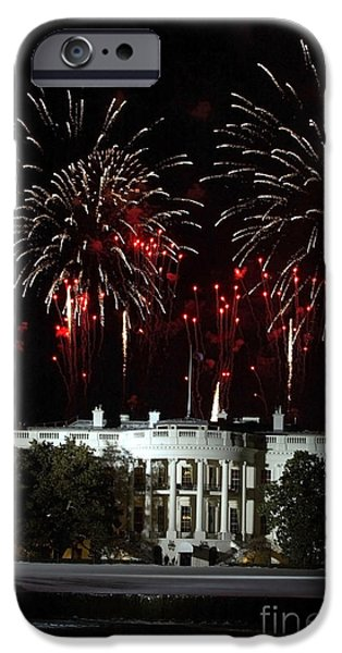 Inauguration iPhone Cases - Fireworks Explode Over The White House iPhone Case by Stocktrek Images
