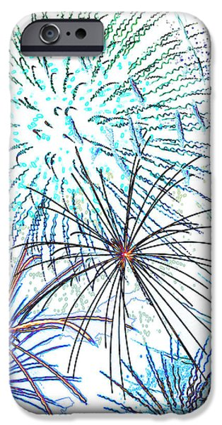 Firework Digital Art iPhone Cases - Fireworks iPhone Case by Methune Hively