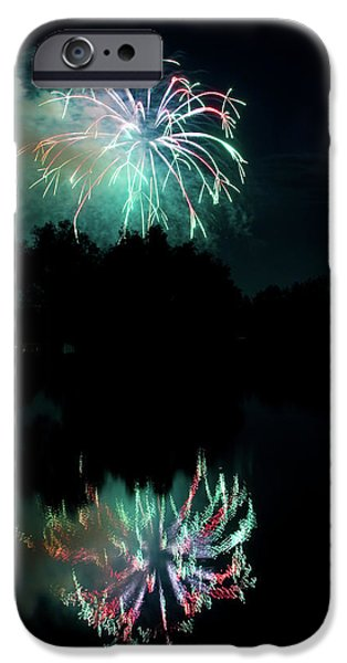 Fireworks iPhone Cases - Fireworks on Golden Ponds. iPhone Case by James BO  Insogna