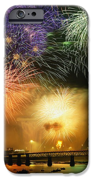 Colour Image iPhone Cases - Fireworks Over Montmorency Falls, Quebec iPhone Case by Yves Marcoux