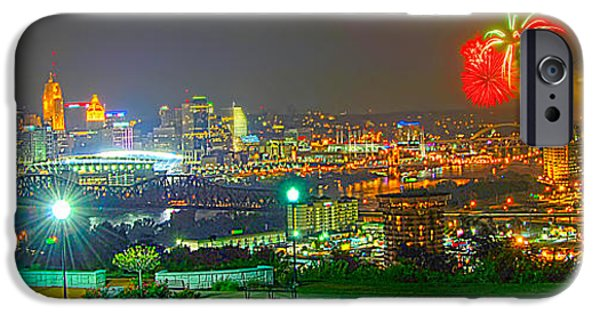 Fireworks iPhone Cases - Fireworks over the city skyline iPhone Case by Randall Branham