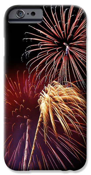 Fourth Of July iPhone Cases - Fireworks Wixom 3 iPhone Case by Michael Peychich