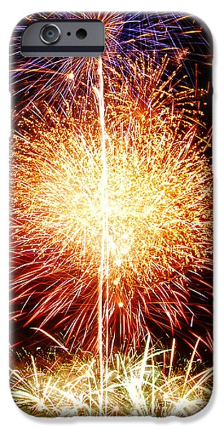 4th July iPhone Cases - Fireworks_1591 iPhone Case by Michael Peychich