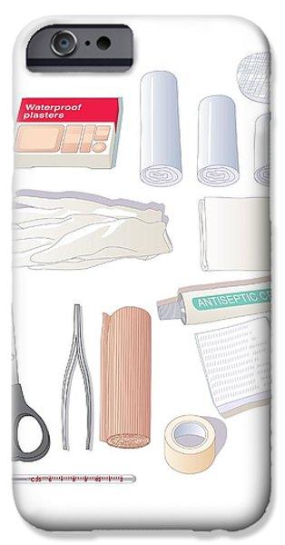 Tweezers iPhone Cases - First Aid Kit Equipment, Artwork iPhone Case by Peter Gardiner