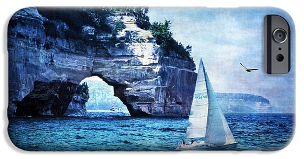 Sailboat Ocean iPhone Cases - First League Out From Land iPhone Case by Lianne Schneider