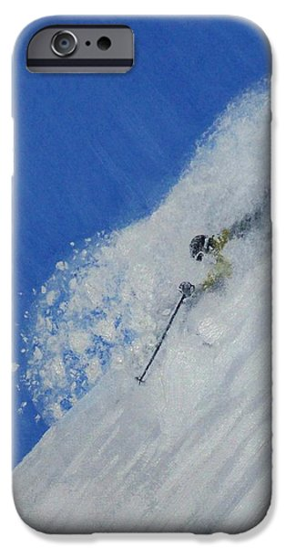 Skiing Action Paintings iPhone Cases - First iPhone Case by Michael Cuozzo