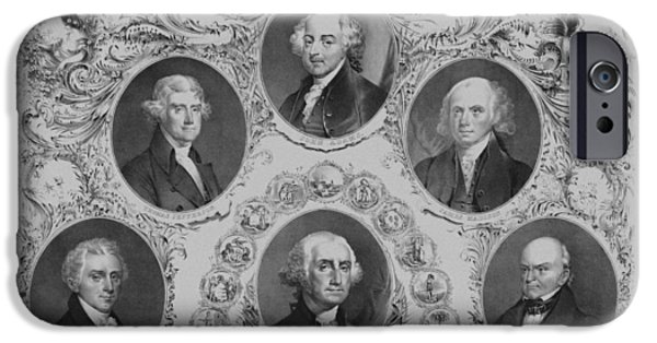 American History iPhone Cases - First Six U.S. Presidents iPhone Case by War Is Hell Store