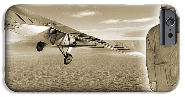 Human Spirit iPhone Cases - First Solo Transatlantic Flight, 1927 iPhone Case by Detlev Van Ravenswaay