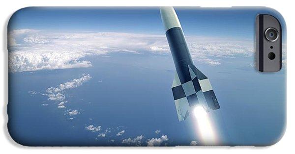 V2 Rocket iPhone Cases - First V-2 Rocket Launch, Artwork iPhone Case by Detlev Van Ravenswaay