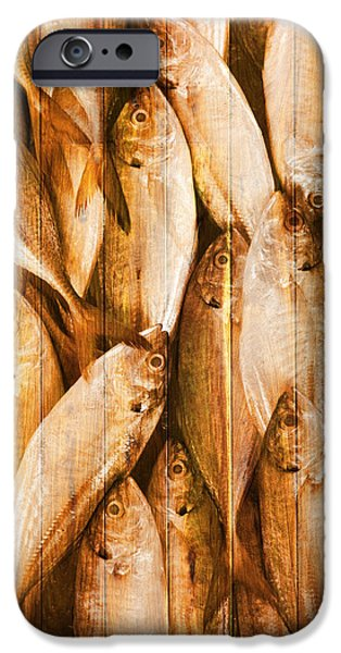 Buildings Mixed Media iPhone Cases - Fish Pattern On Wood iPhone Case by Setsiri Silapasuwanchai