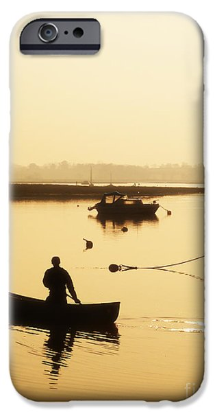 Fishermen iPhone Cases - Fisherman on lake iPhone Case by Pixel Chimp