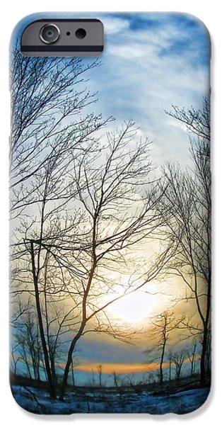 Snowy Day Mixed Media iPhone Cases - Fisheye Winter Landscape iPhone Case by Debra     Vatalaro