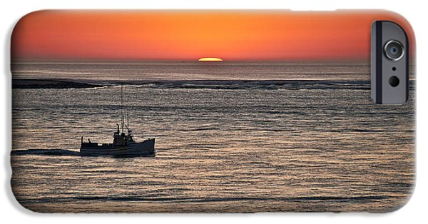 Chatham iPhone Cases - Fishing boat at sunrise. iPhone Case by John Greim