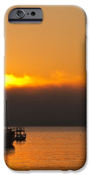 Fishing Boat At Sunrise iPhone Case by Steve Gadomski