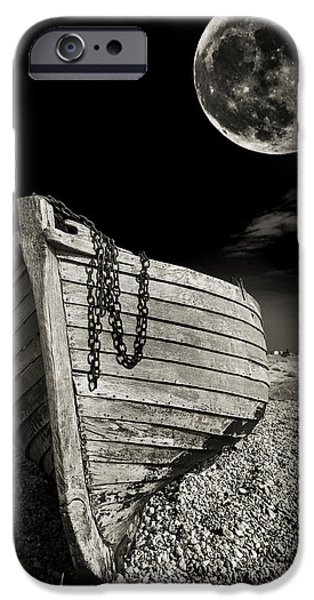 Moon iPhone Cases - Fishing Boat Graveyard 3 iPhone Case by Meirion Matthias