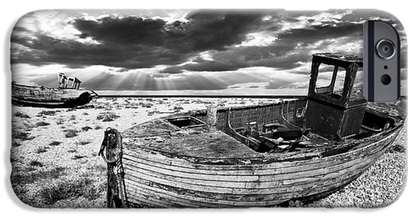Trawler iPhone Cases - Fishing Boat Graveyard iPhone Case by Meirion Matthias