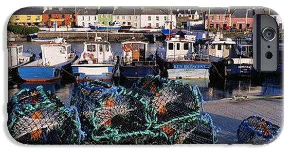 Basket iPhone Cases - Fishing Boat Moored At A Harbor iPhone Case by The Irish Image Collection