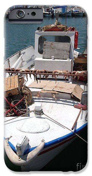 Business Photographs iPhone Cases - Fishing boat with octopus drying iPhone Case by Jane Rix