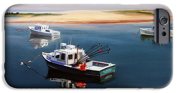 Cape Cod Paintings iPhone Cases - Fishing Boats-cape Cod iPhone Case by Paul Walsh