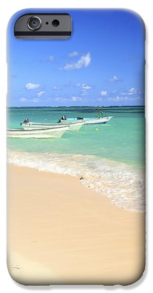 Small iPhone Cases - Fishing boats in Caribbean sea iPhone Case by Elena Elisseeva