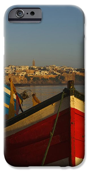 Rabat Photographs iPhone Cases - Fishing Boats In Front Of Kasbah Des iPhone Case by Axiom Photographic