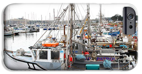 Sailboat Ocean iPhone Cases - Fishing Boats in Pillar Point Harbor at Half Moon Bay California . 7D8197 iPhone Case by Wingsdomain Art and Photography