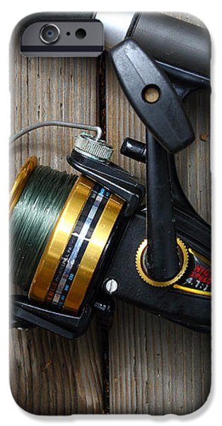 Fishing Rod and Reel . 7D13542 iPhone Case by Wingsdomain Art and Photography