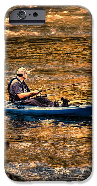 Fishing The Golden Hour iPhone Case by Steven Richardson