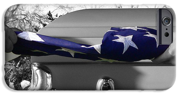 American Flag Digital Art iPhone Cases - Flag for the Fallen - Selective Color iPhone Case by Al Powell Photography USA
