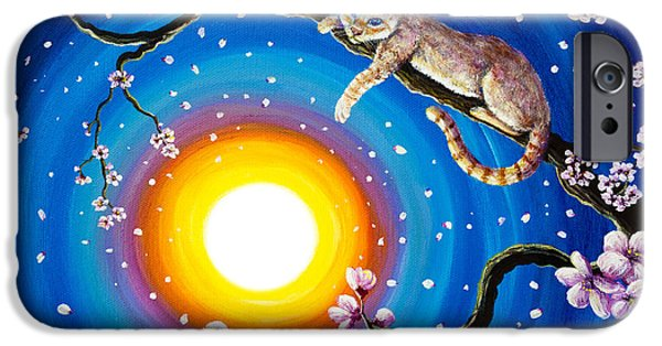 Flame Point Siamese iPhone Cases - Flame Point Siamese Cat in Cherry Blossoms iPhone Case by Laura Iverson