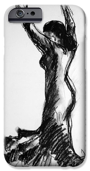 Joyful Drawings iPhone Cases - Flamenco Sketch 3 iPhone Case by Mona Edulesco